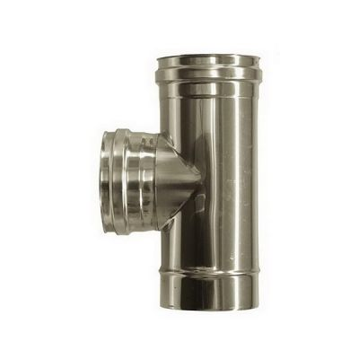 T connection 90 ° female flue DN 130 stainless steel tube 316 INOX