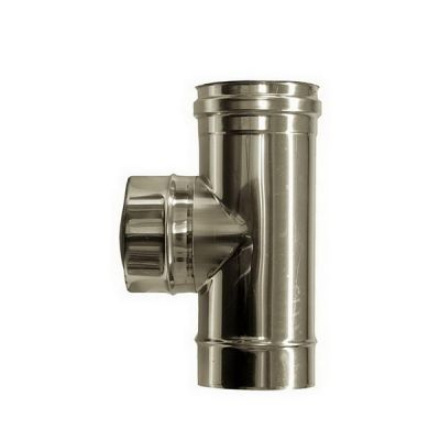T connection 90 ° flue DN 80 stainless steel tube 316 INOX